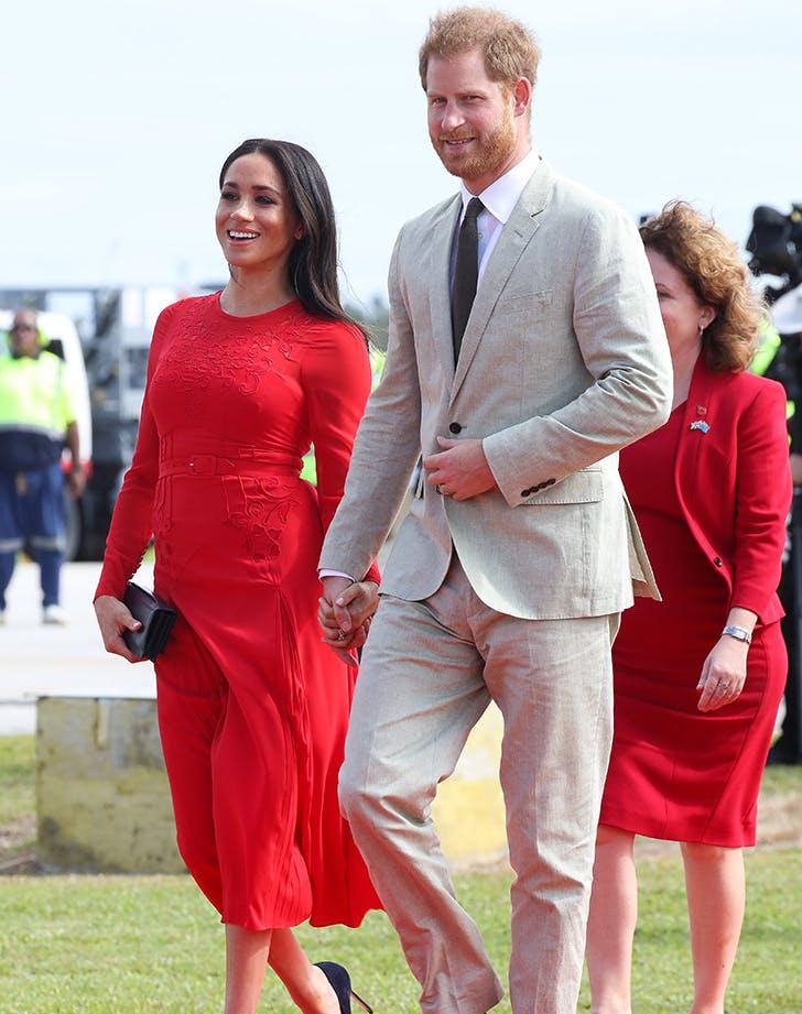 prince harry meghan markle red dress