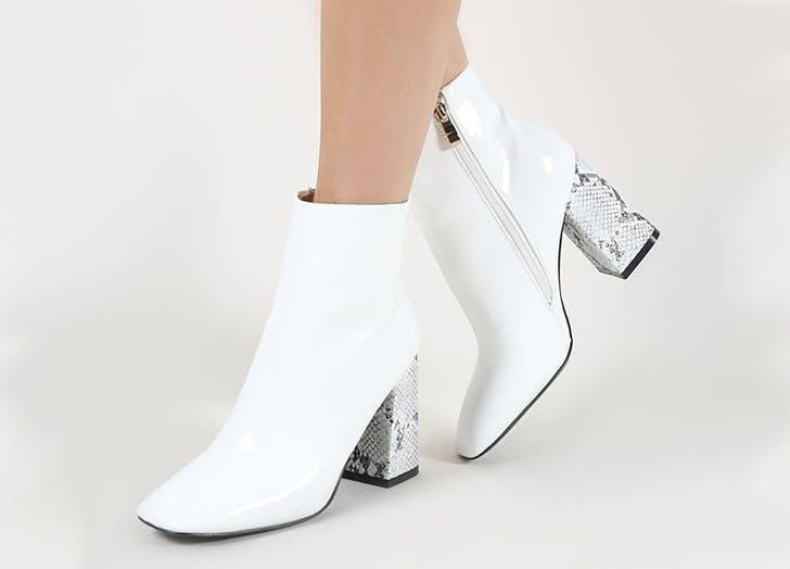 public desire square toe white boots