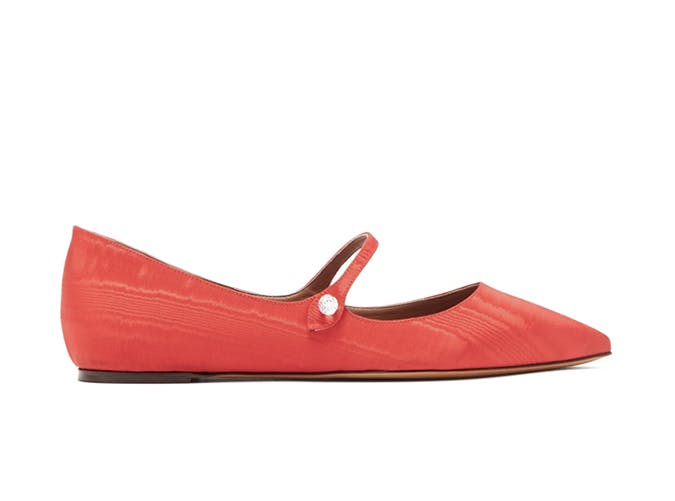 red silk mary jane shoes