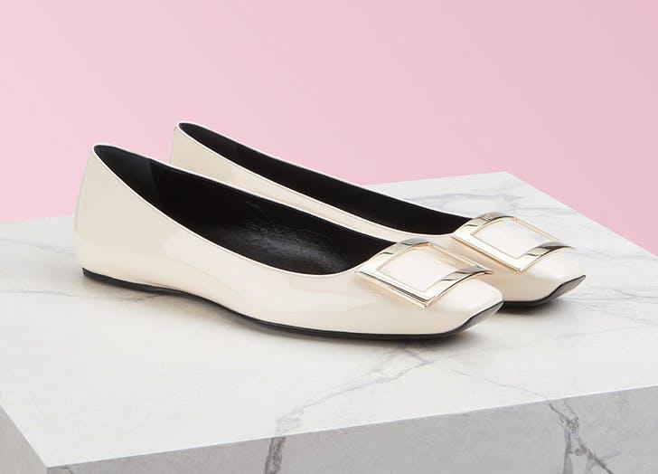 roger vivier white square toe flats