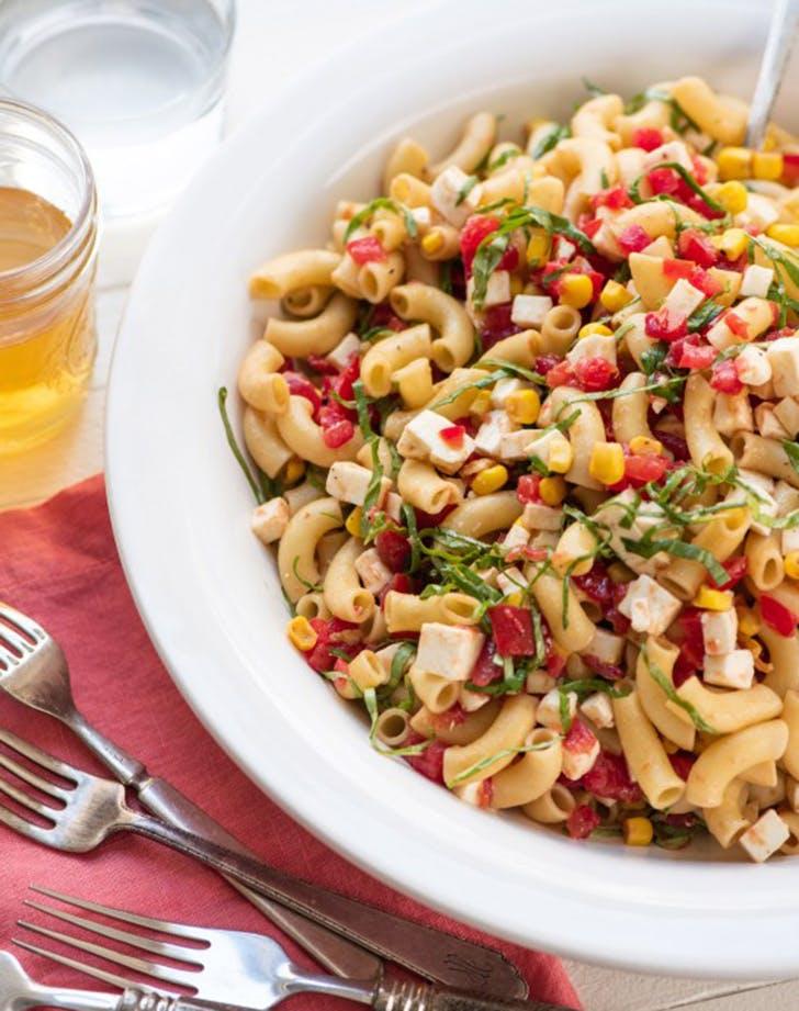 simplest tomato corn basil mozzarella pasta salad recipe