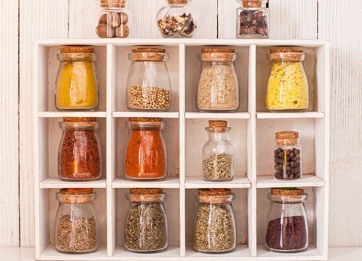 spice jars in spice shelves