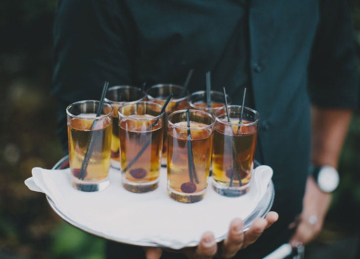 strong cocktails on tray