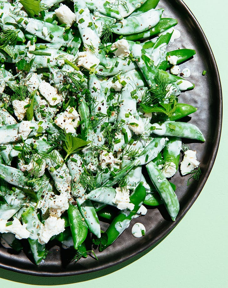 sugar snap pea salad with chevre ranch recipe