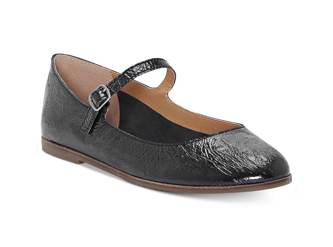 textured black mary jane shoes
