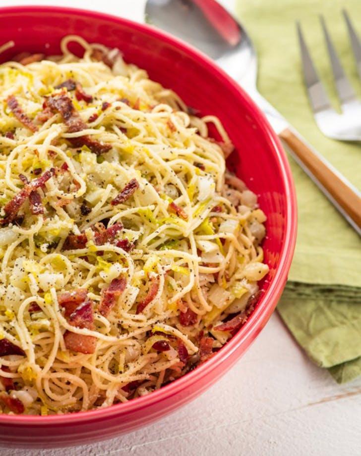 thin spaghetti fennel bacon parmesan recipe