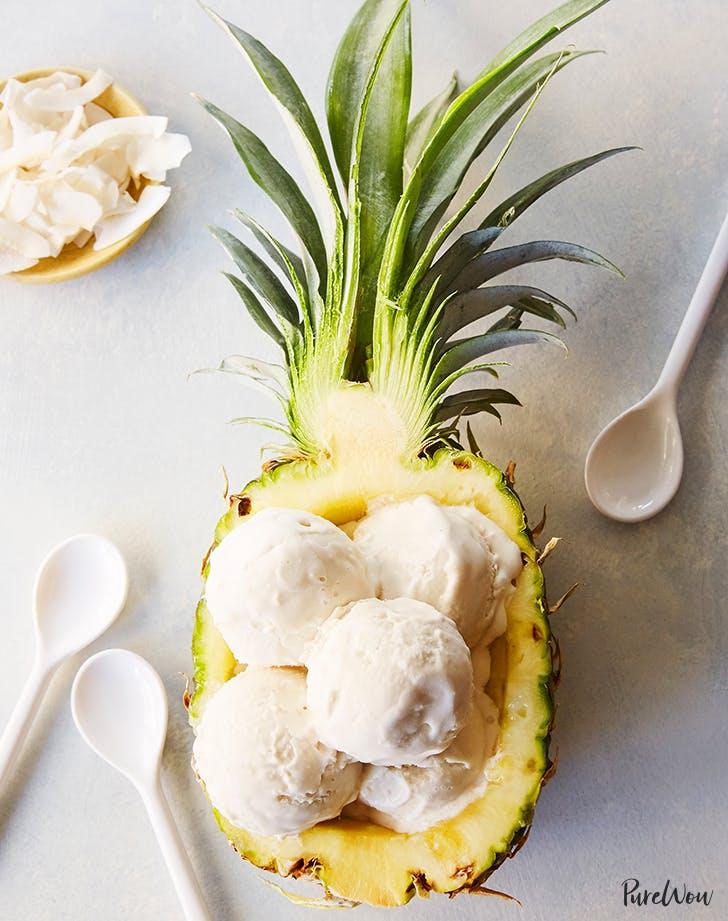 three ingredient vegan coconut ice cream in pineapple recipe
