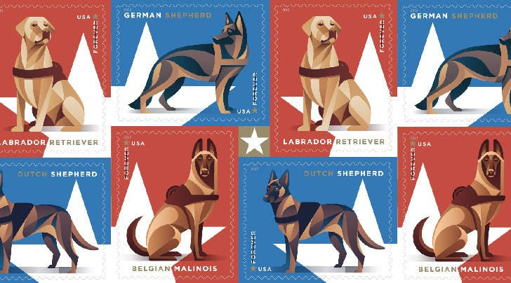 Sit, Stay, Stamp: USPS Is Releasing a Stamp Collection to Honor Military Dogs