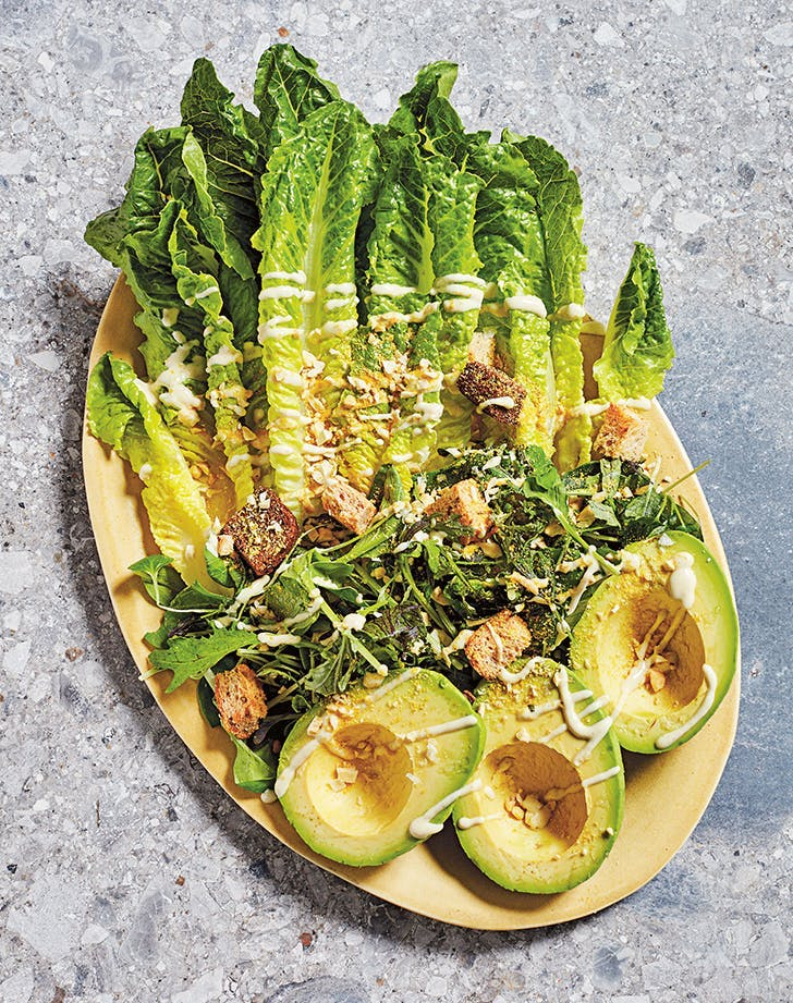 vegan avocado caesar salad recipe