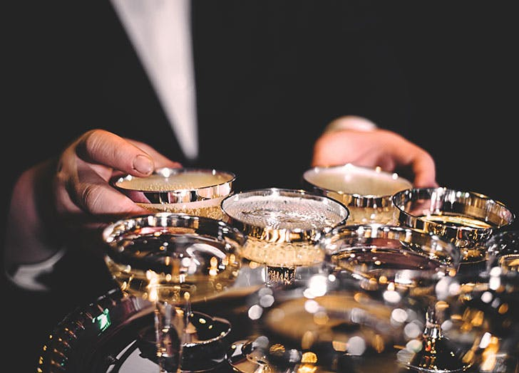 wedding tray of champagne