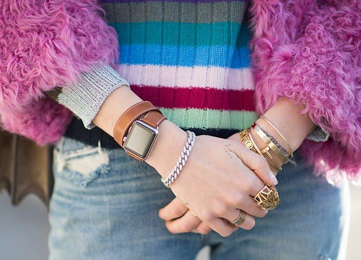 woman wearing an apple smart watch