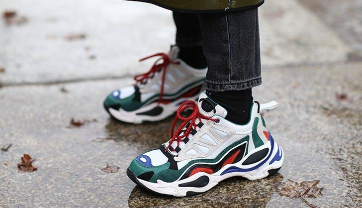 woman wearing chunky sneakers