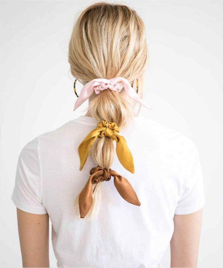 woman wearing donni hair scrunchies
