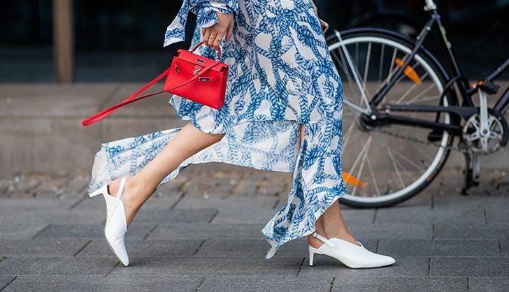 woman wearing stark white heels