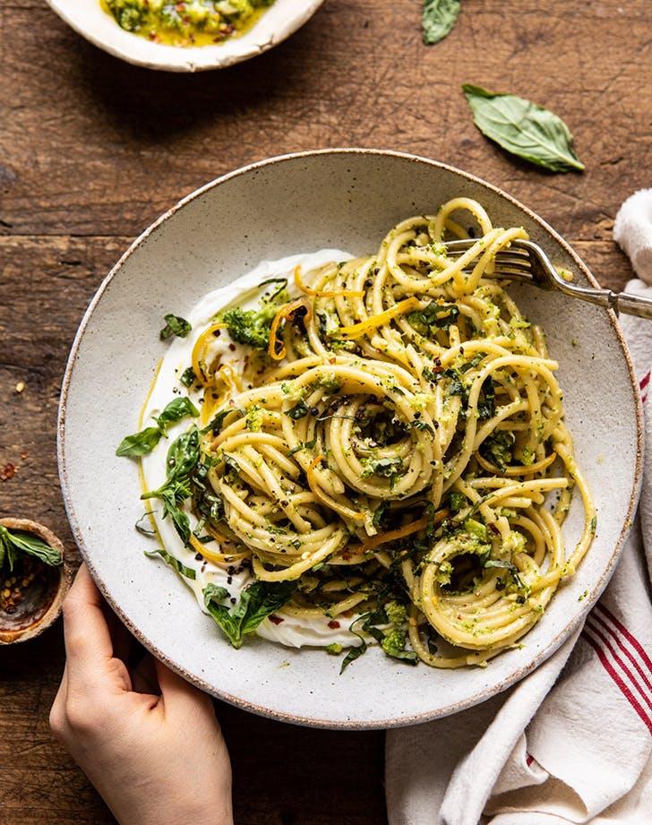 Broccoli Pesto Pasta with Whipped Ricotta recipe