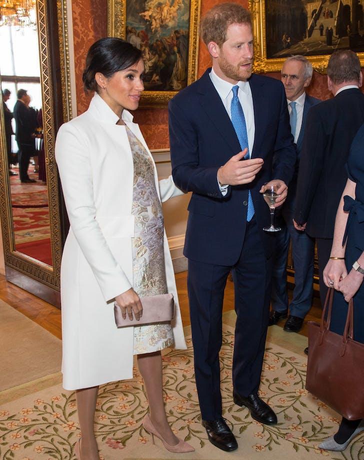 Meghan Markle metallic brocade dress