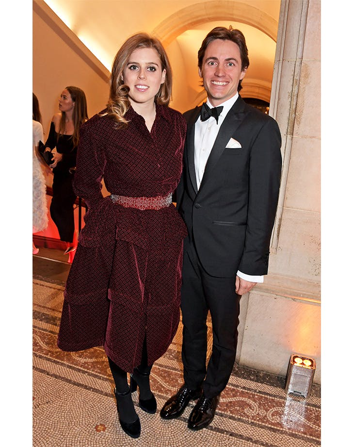 Princess Beatricered alaia dress with boyfriend