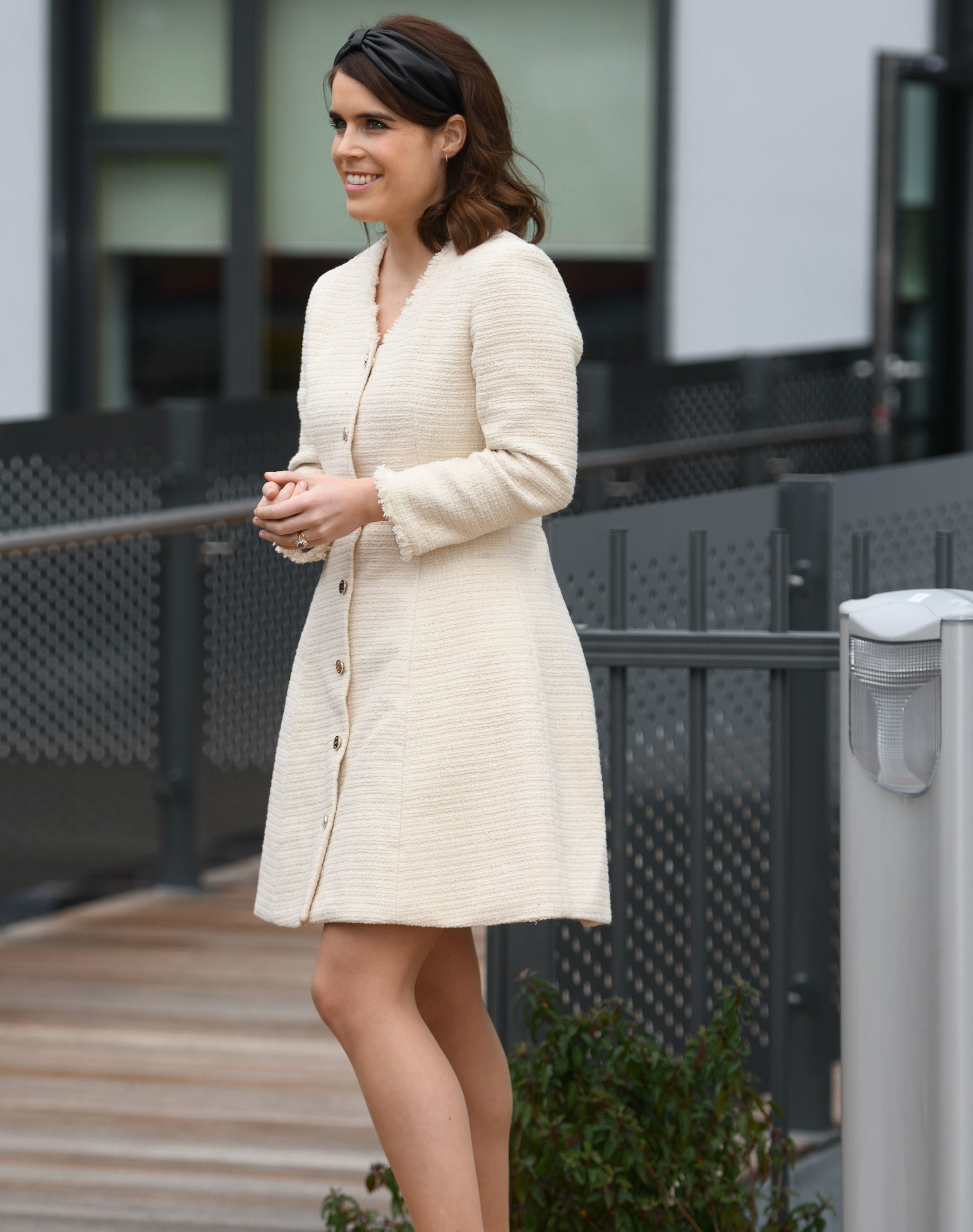 Princess Eugenie Totally Channeled Blair Waldorf in This Fresh & Fun Tweed Dress (Which Just Happens to Be On Sale)