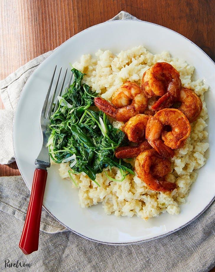 Shrimp With Cauliflower Grits And Arugula Recipe