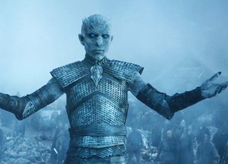 The night king with arms outstretched