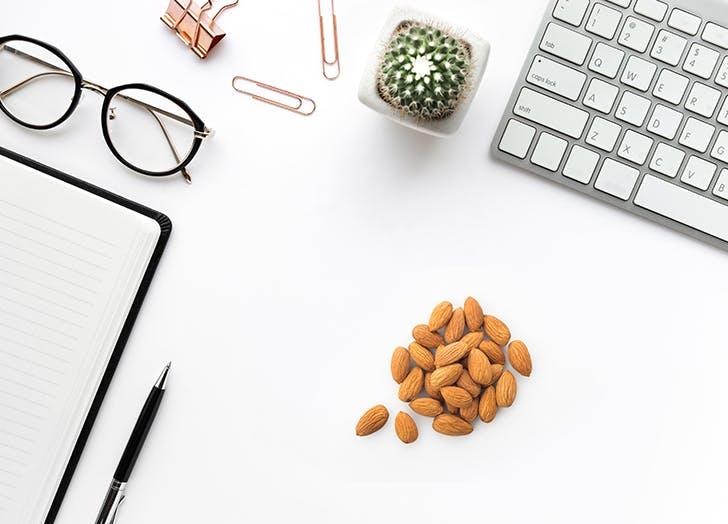 almonds desk food