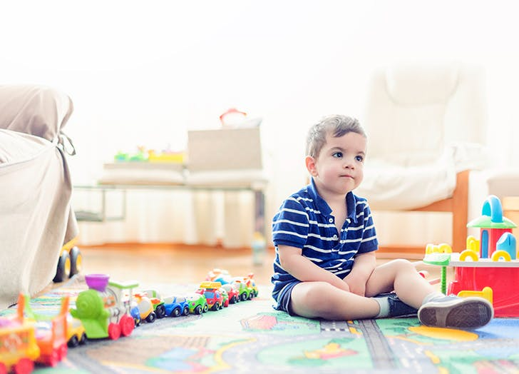 baby in playroom
