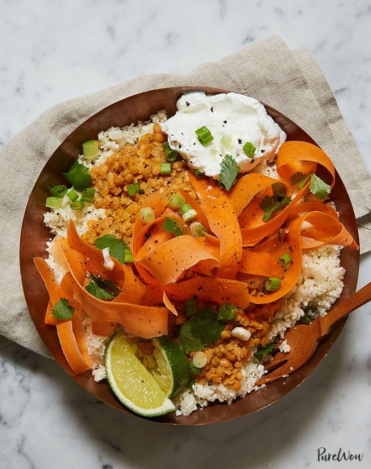 cauliflower rice bowl curried lentils carrots yogurt recipe lunch ideas