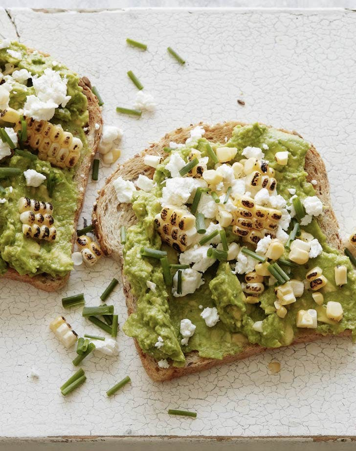 cold dinner recipes charred corn and goat cheese avocado toast