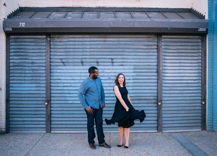 diverse couple on street