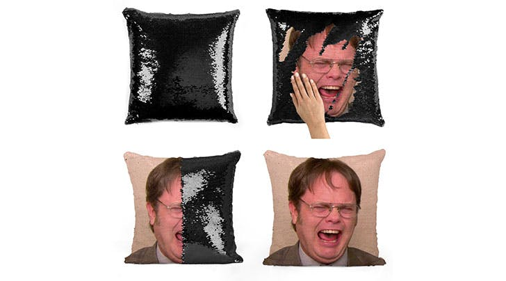 These Sequined Dwight Schrute Pillows Are Possibly the Greatest Thing Weve Ever Seen