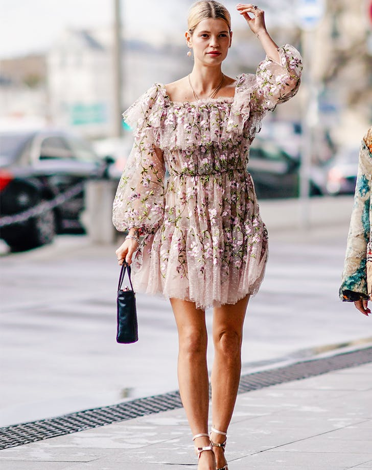 floral ruffled square neck dress