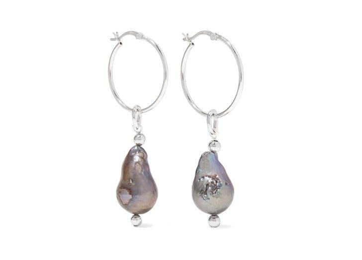 gray baroque pearl hoop earrings
