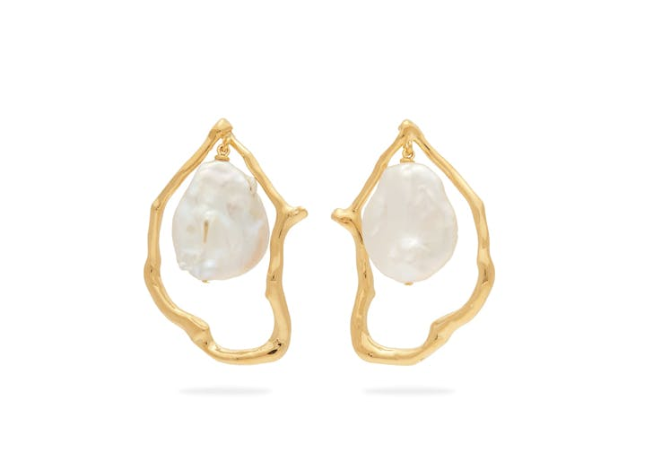 halo baroque pearl earrings