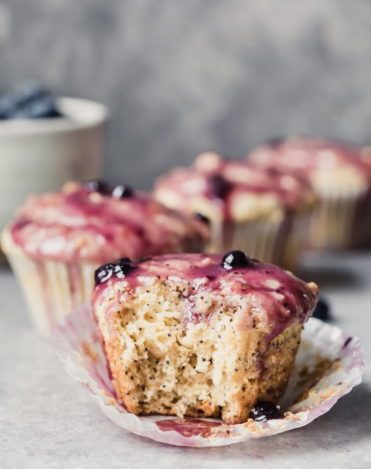 healthy lemon poppy seed muffins with lemon blueberry glaze recipe