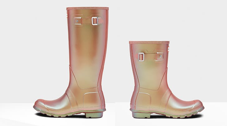 Rain, Rain, Stay and Play, We Want to Wear These New Iridescent Pink Hunter Boots Today