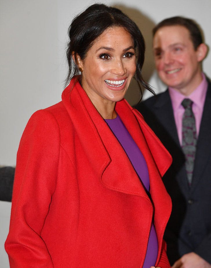 meghan markle laughing baby bump1