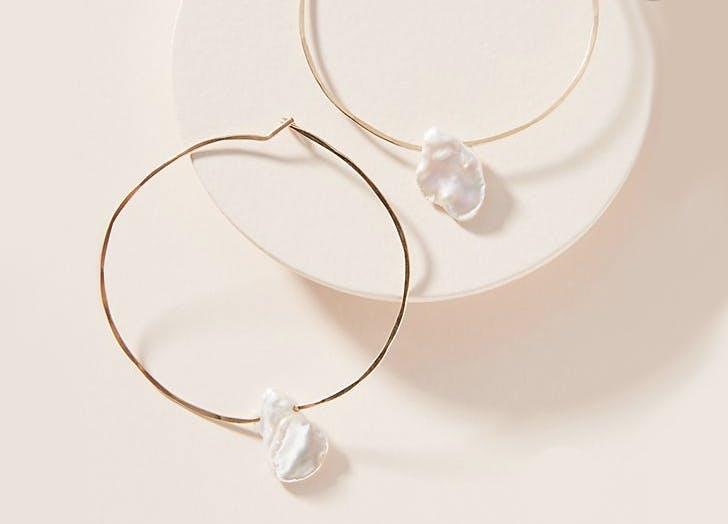 minimalist hoop baroque pearl earrings