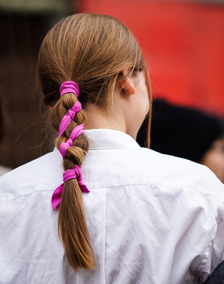ribbon in ponytail