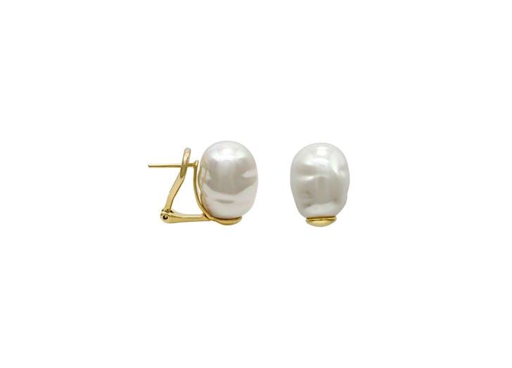 simple stud baroque pearl earrings