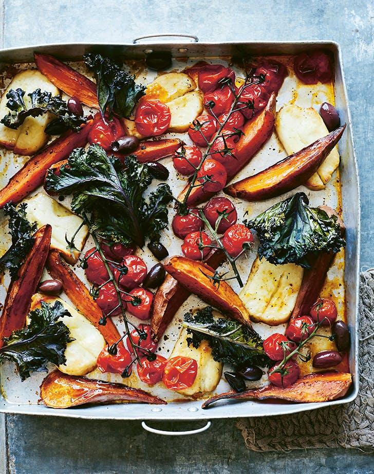 Sweet Potato, Tomato, Kale and Halloumi Sheet Tray Recipe - PureWow