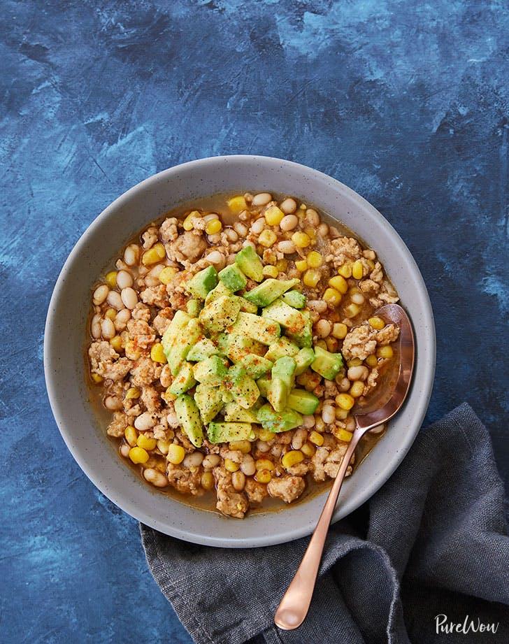 white turkey chili avocado recipe lunch ideas