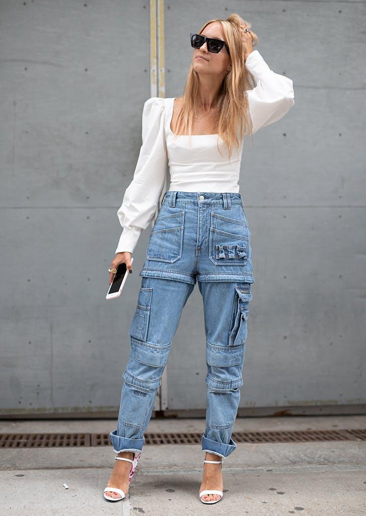 woman wearing utillitarian jeans
