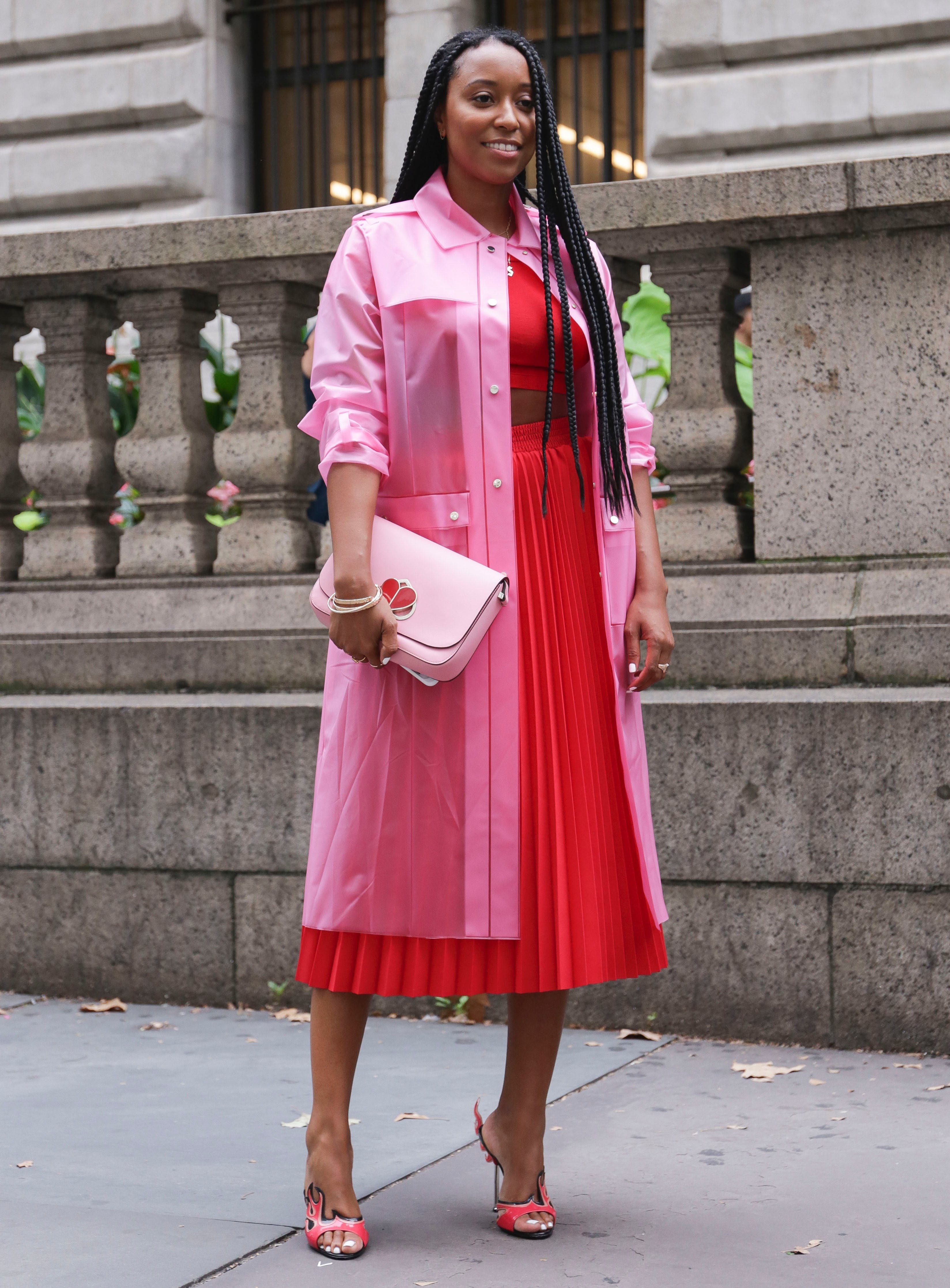 woman wearing pink and red