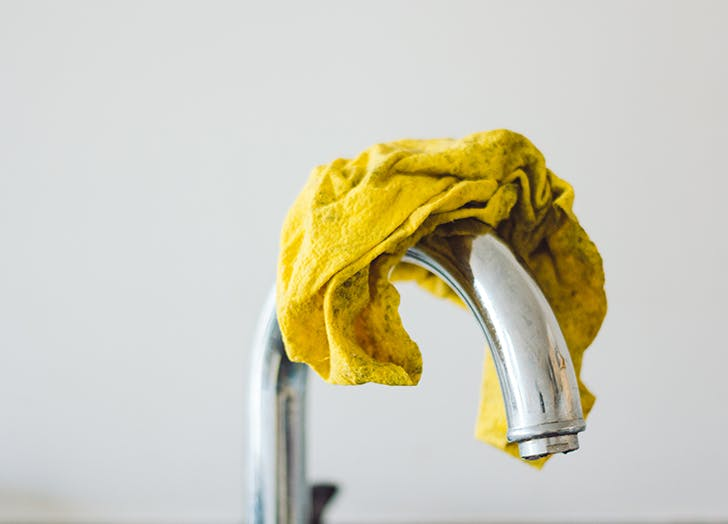 yellow kitchen cloth home sink domestic simple tap cleaning