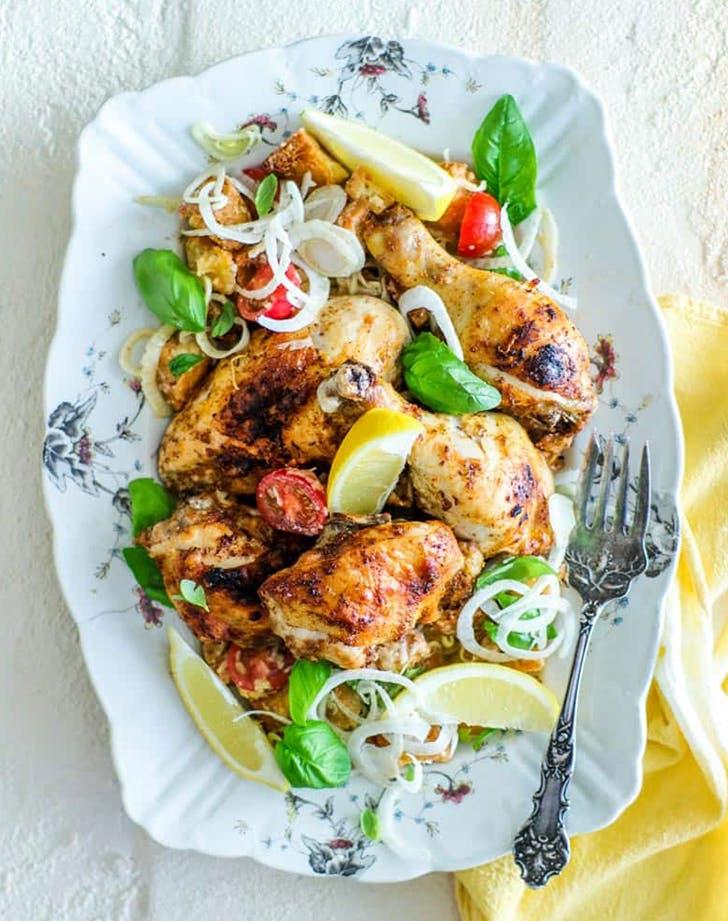 Gluten Free Italian Sheet Pan Chicken with Bread Salad