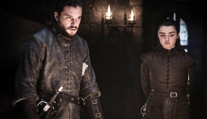 Jon Snow Arya strategizing game of thrones1