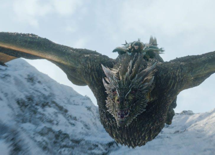 Jon Snow riding a dragon