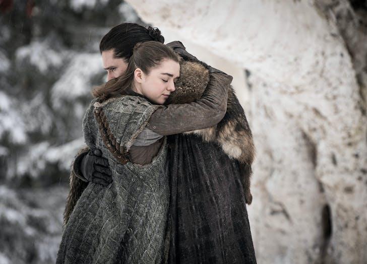 Jon and Arya hugging