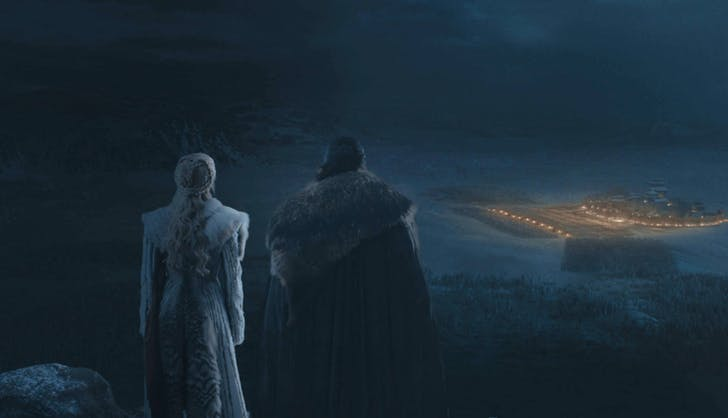Jon and Daenerys overlooking battle of winterfell game of thrones