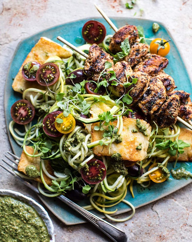 Mediterranean Chicken and Summer Squash Noodles with Fried Halloumi recipe